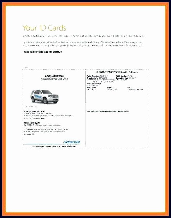 Free Blank Car Insurance Card Template