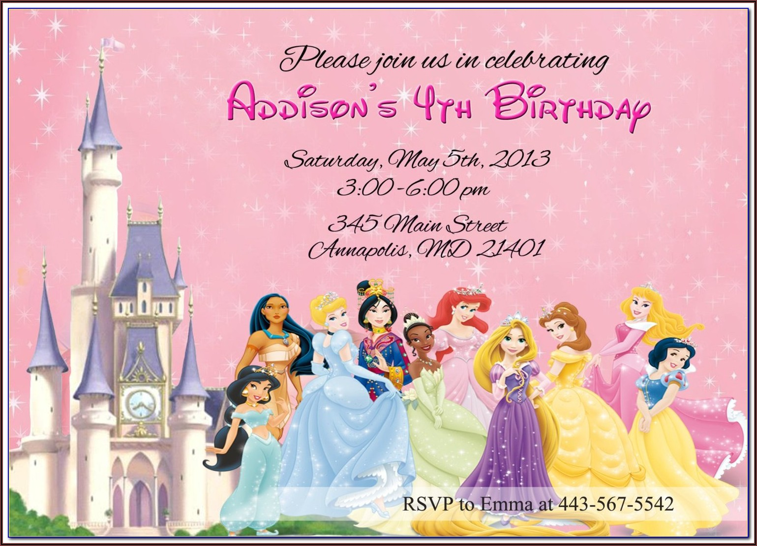 Free Disney Princess Invitations To Print