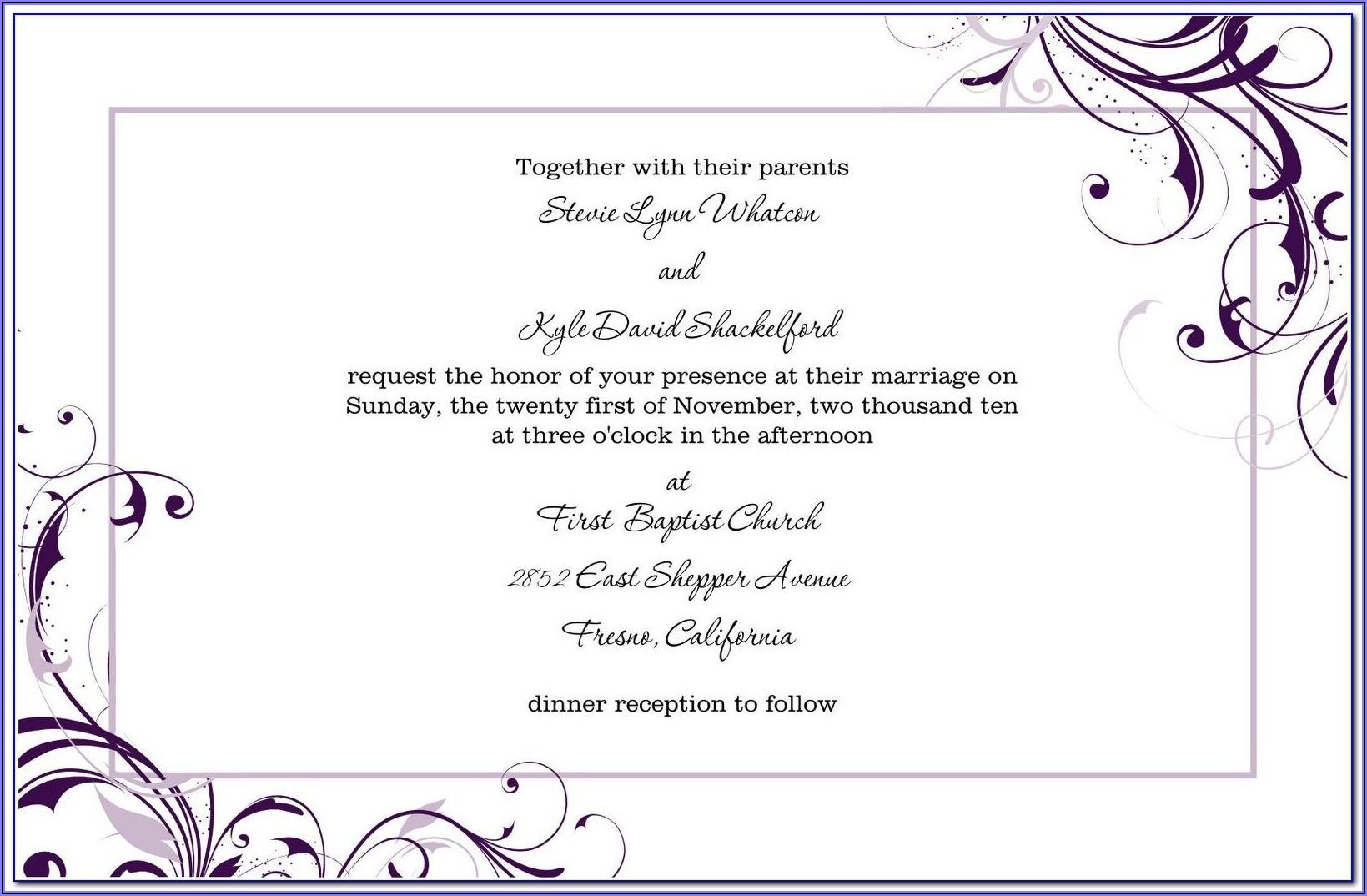 Free Download Wedding Invitation Templates Microsoft Word