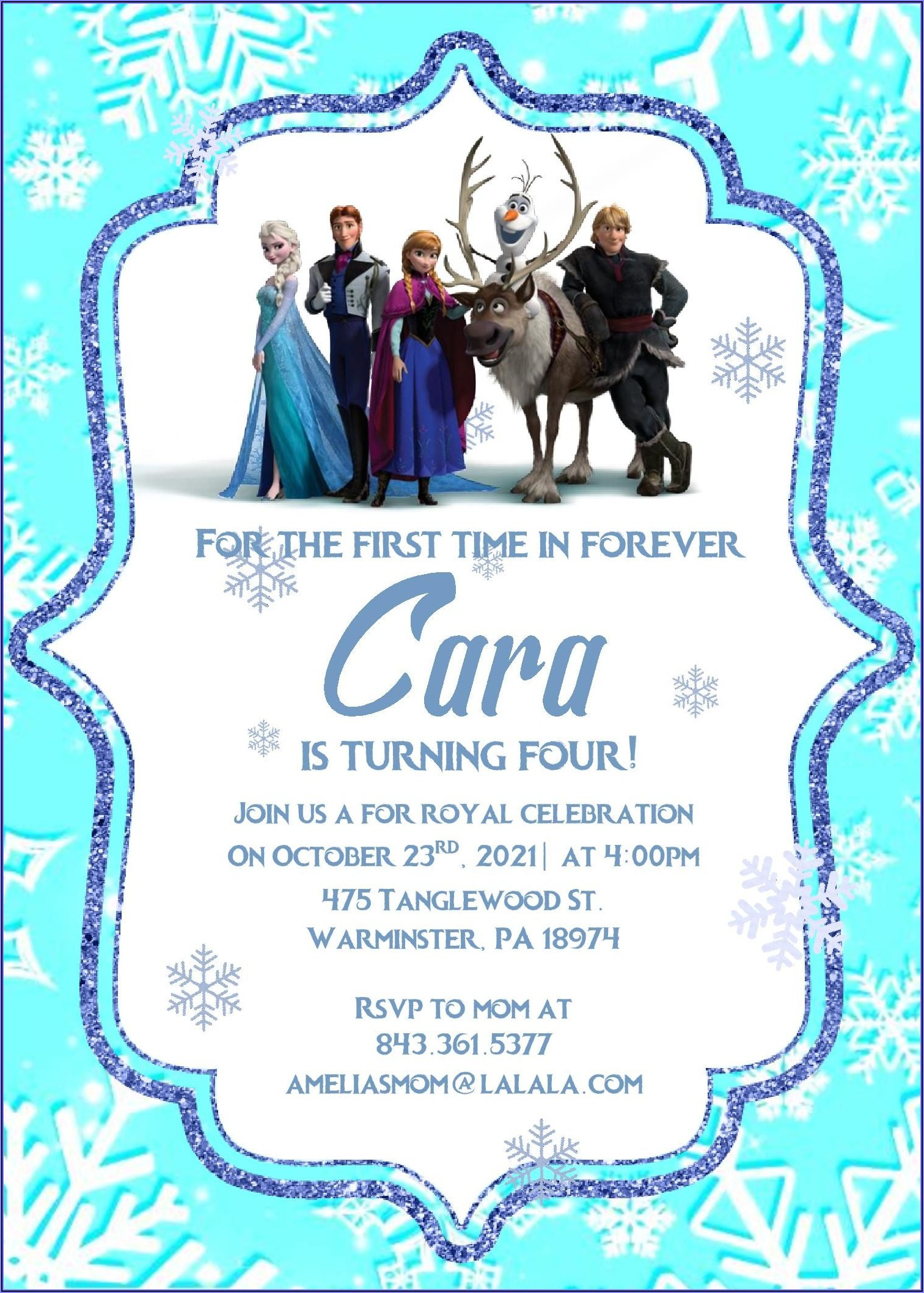 Free Editable Printable Frozen Birthday Invitations