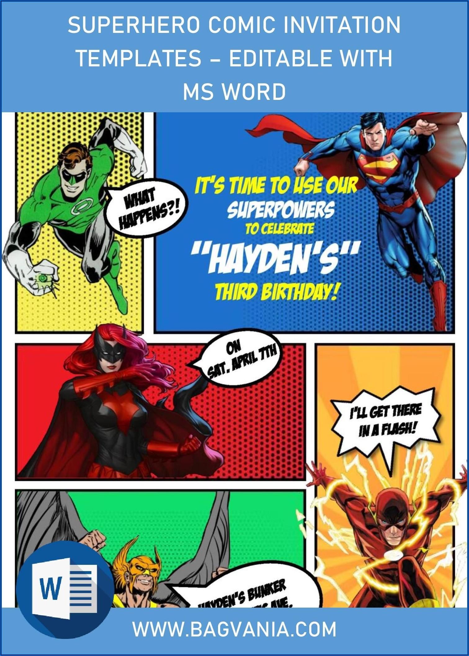 Free Editable Superhero Birthday Invitation Templates