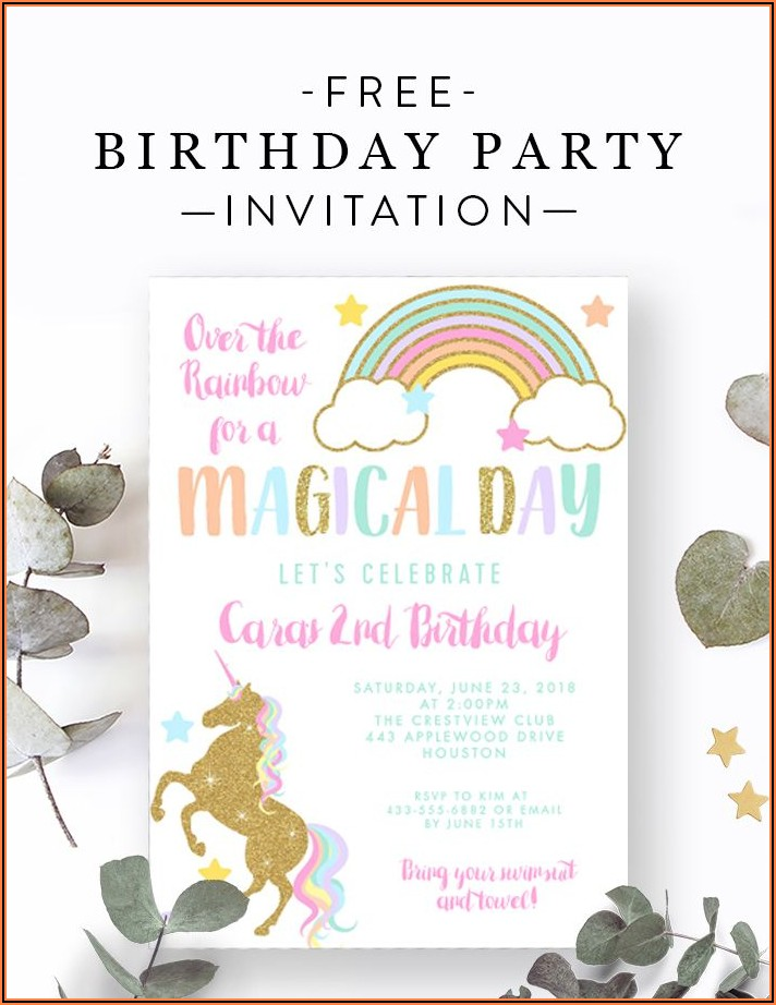 Free Editable Unicorn Birthday Invitations