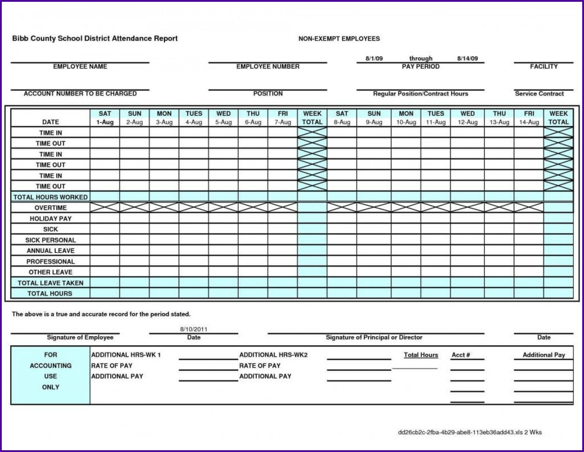 Free Excel Monthly Timesheet Template Multiple Employees