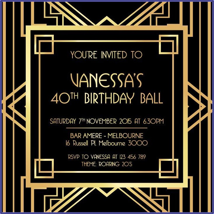 Free Great Gatsby Invitation Template