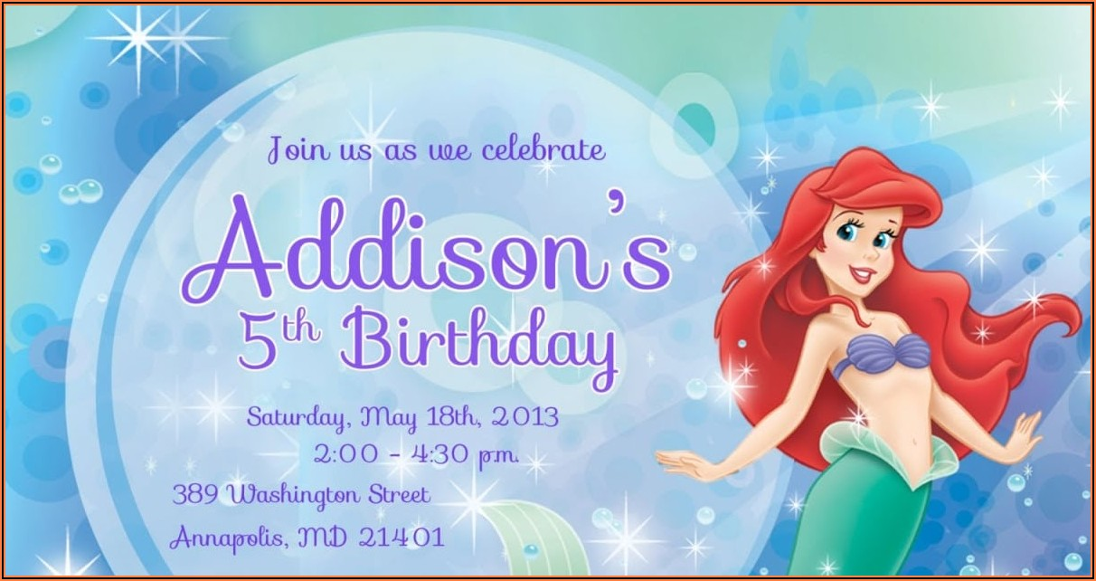 Free Invitation Templates Mermaid