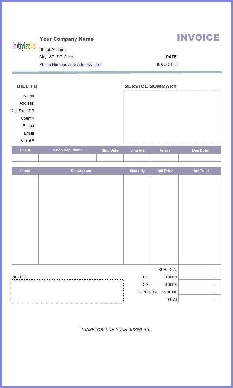 Free Moving Company Invoice Template