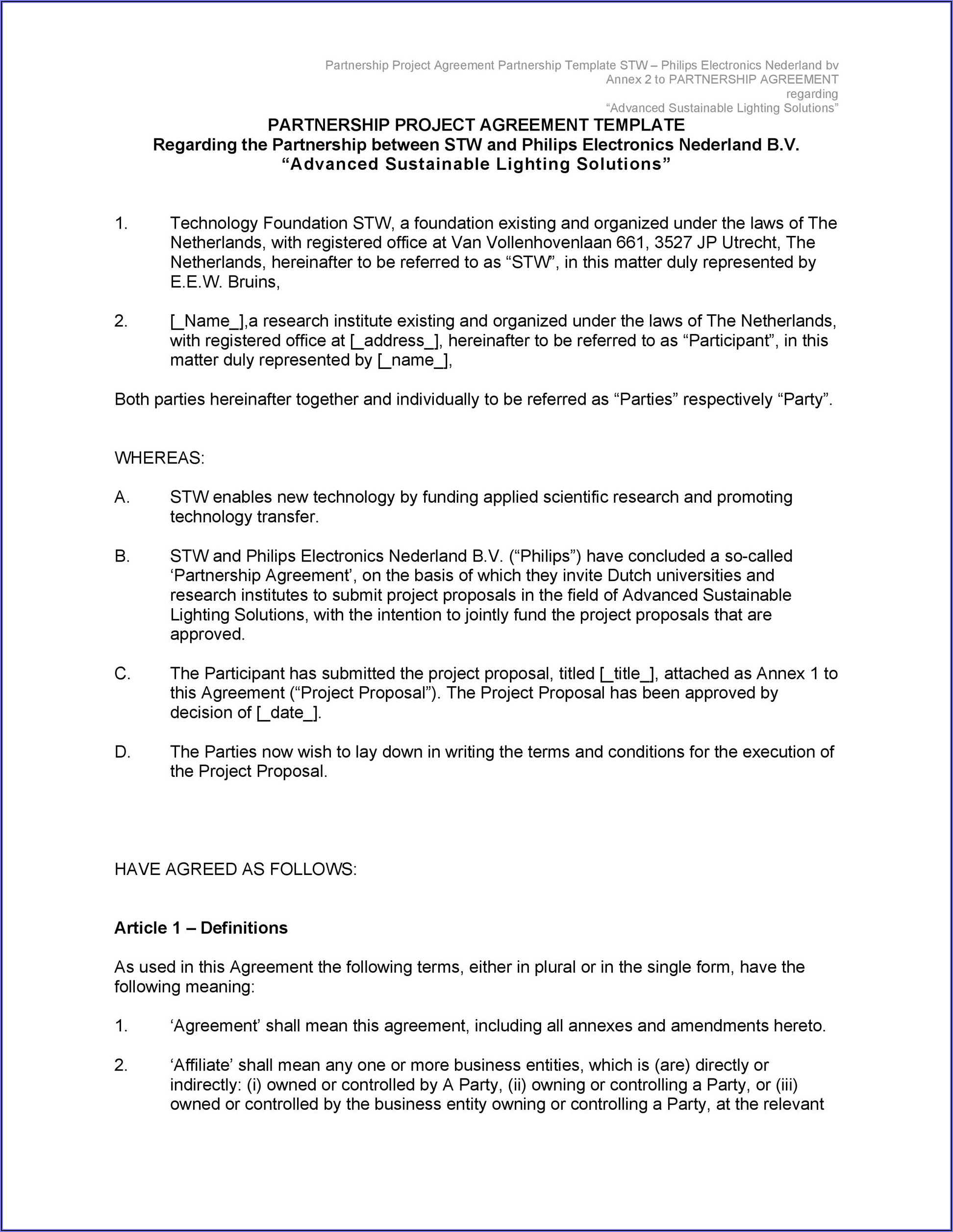 Free Partnership Agreement Contract Template