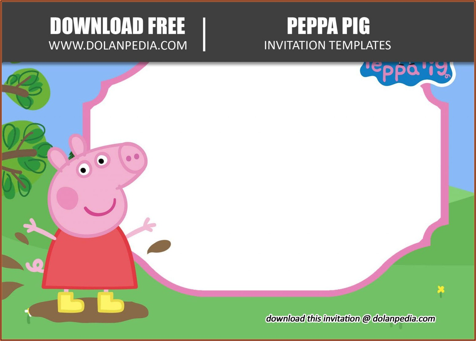 Free Peppa Pig Invitation Template Editable