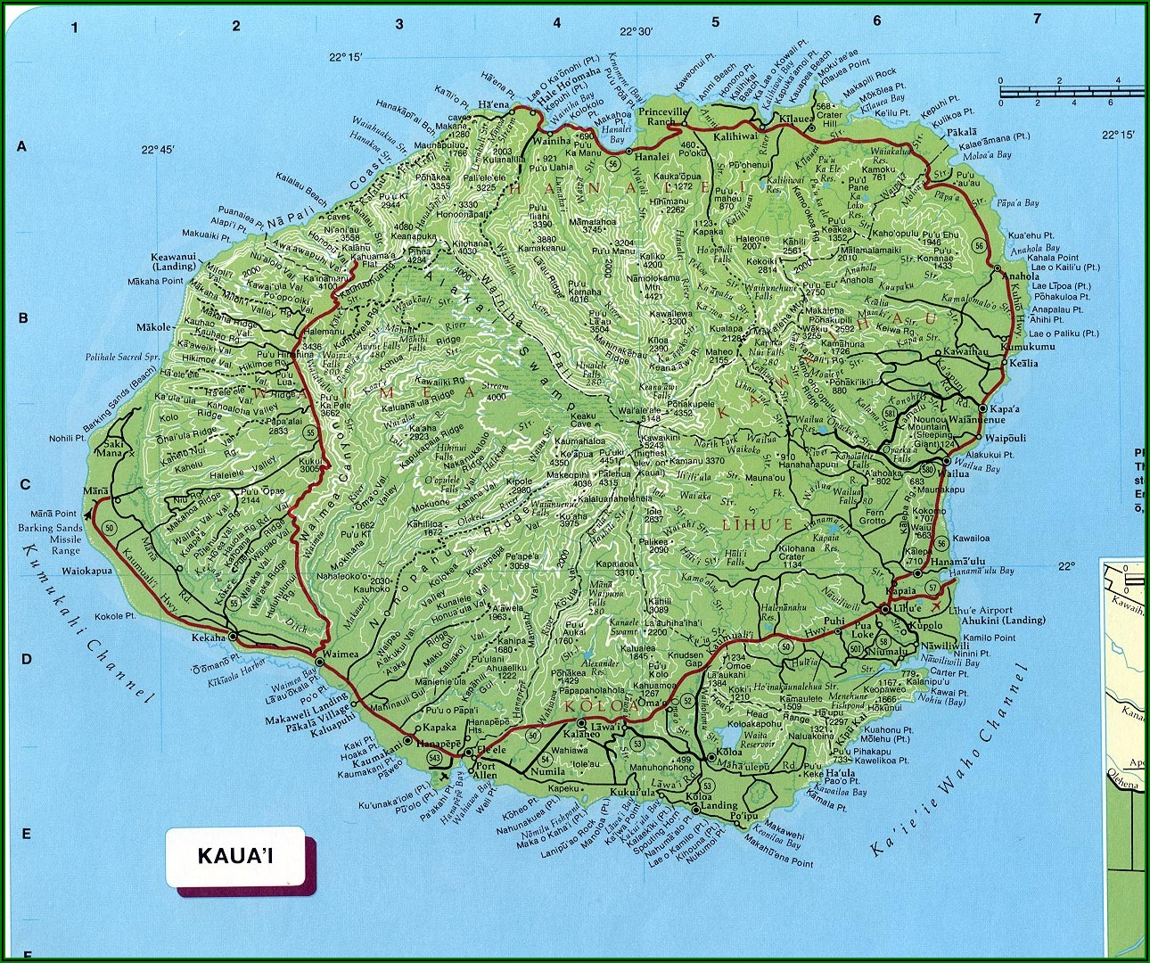 Free Printable Map Of Kauai