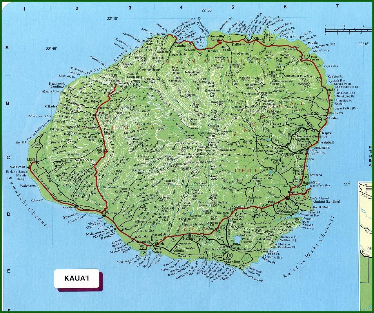 Free Printable Map Of Kauai