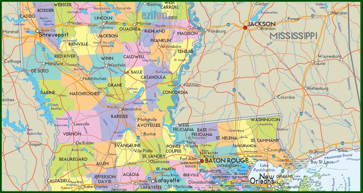 Free Printable Map Of Louisiana Parishes