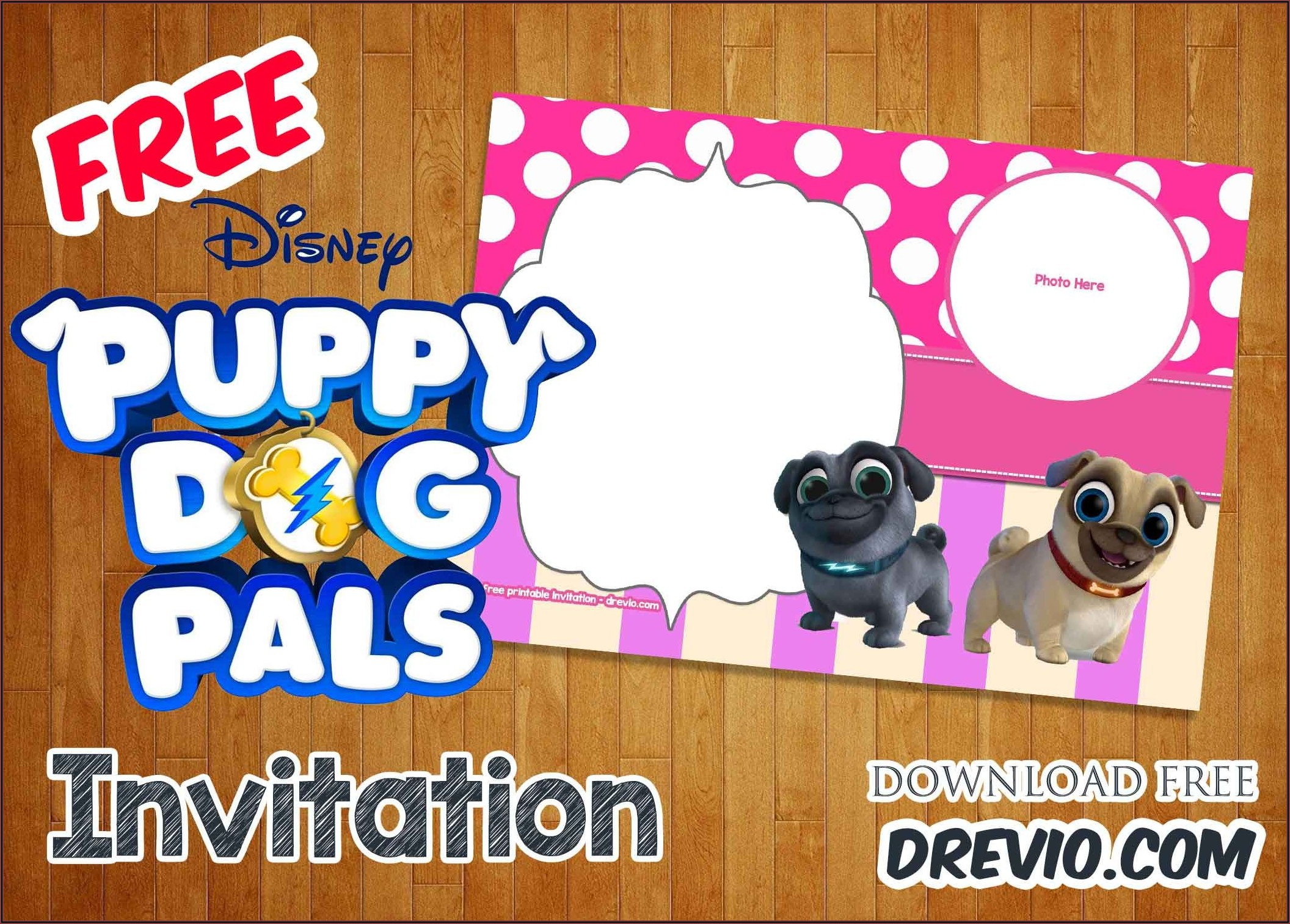 Free Printable Puppy Dog Pals Birthday Invitations