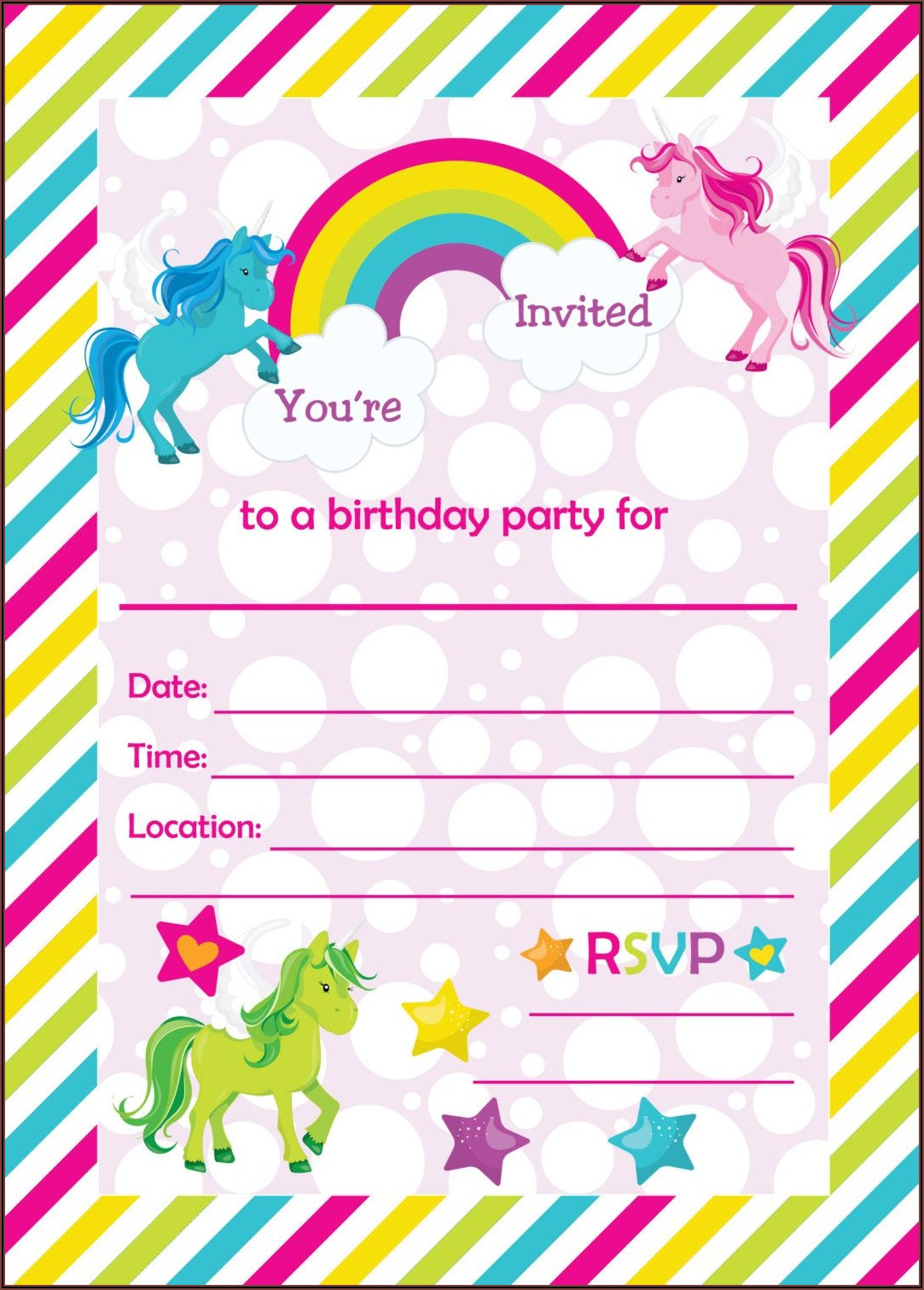 Free Printable Template Unicorn Invitations