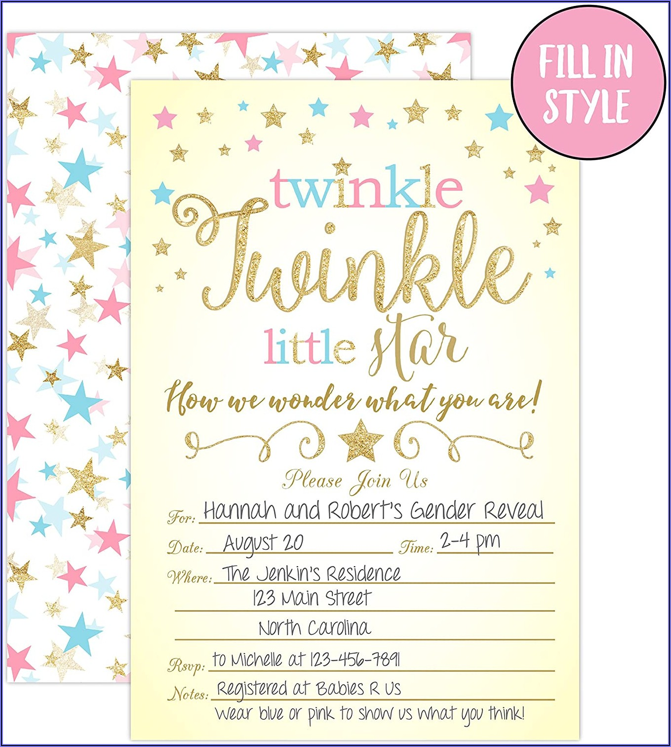 Free Printable Twinkle Twinkle Little Star Gender Reveal Invitations