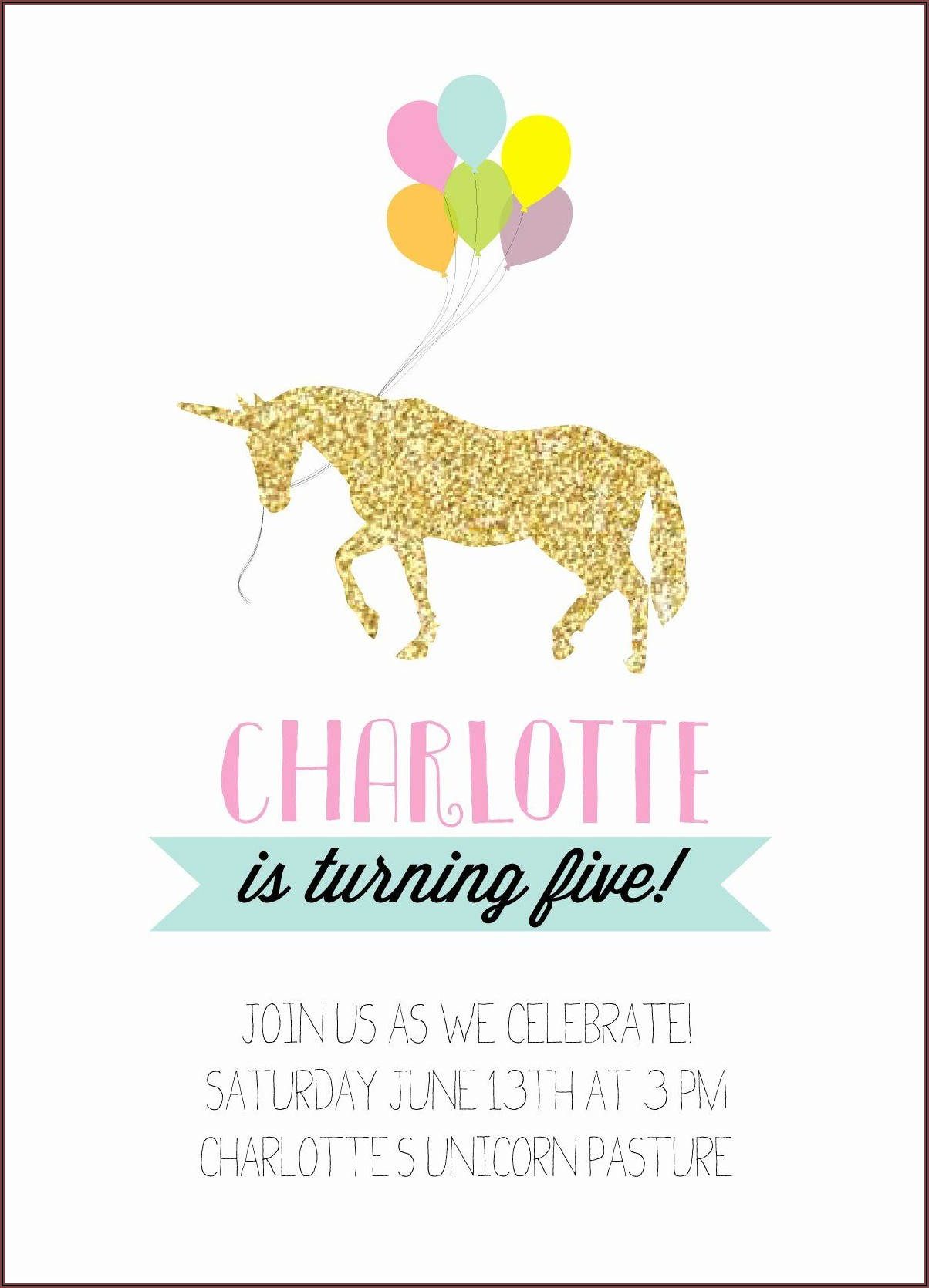 Free Rainbow Unicorn Party Invitations
