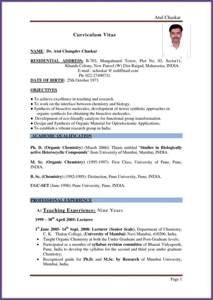 Free Sample Resume Template For Teachers