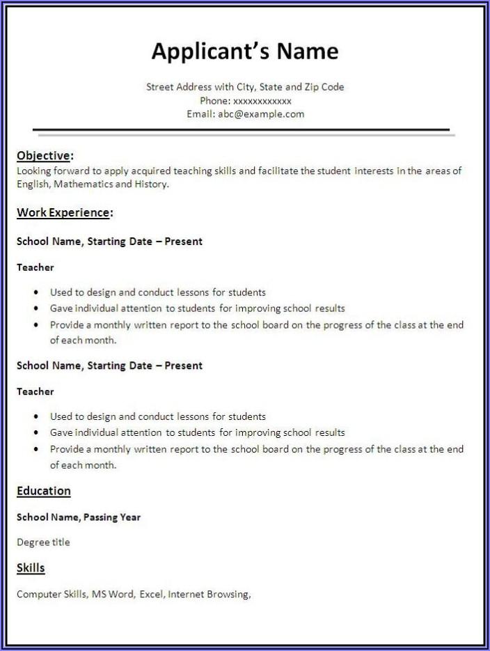 Free Sample Resume Templates Word