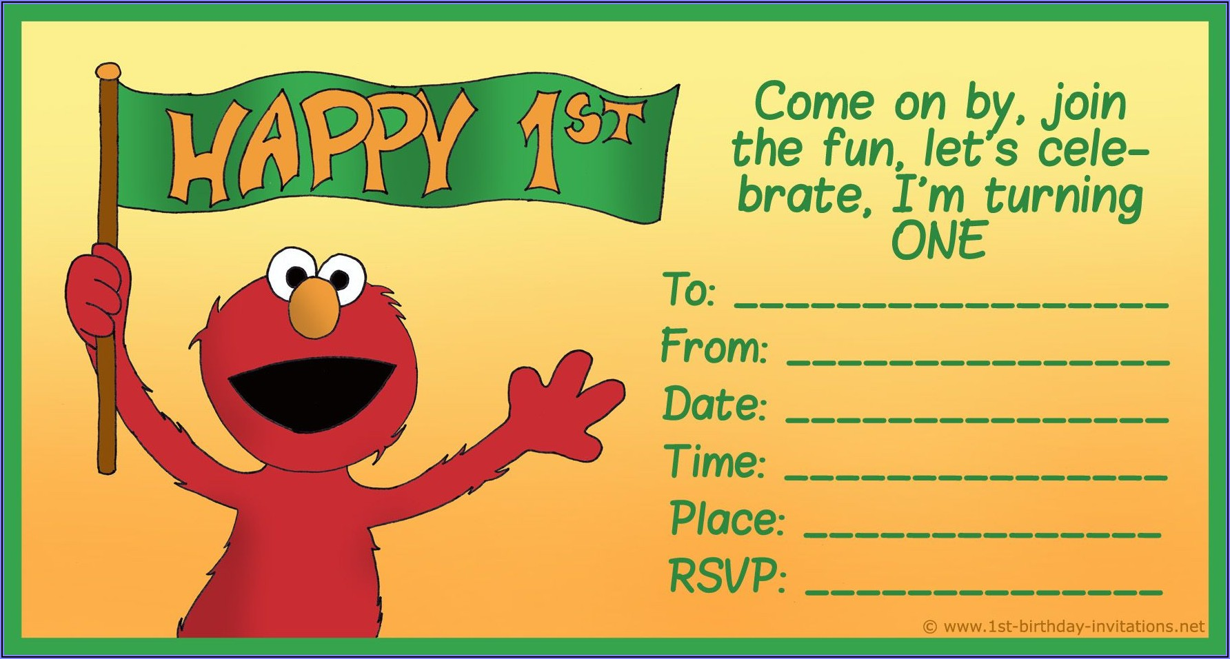 Free Sesame Street 1st Birthday Invitations