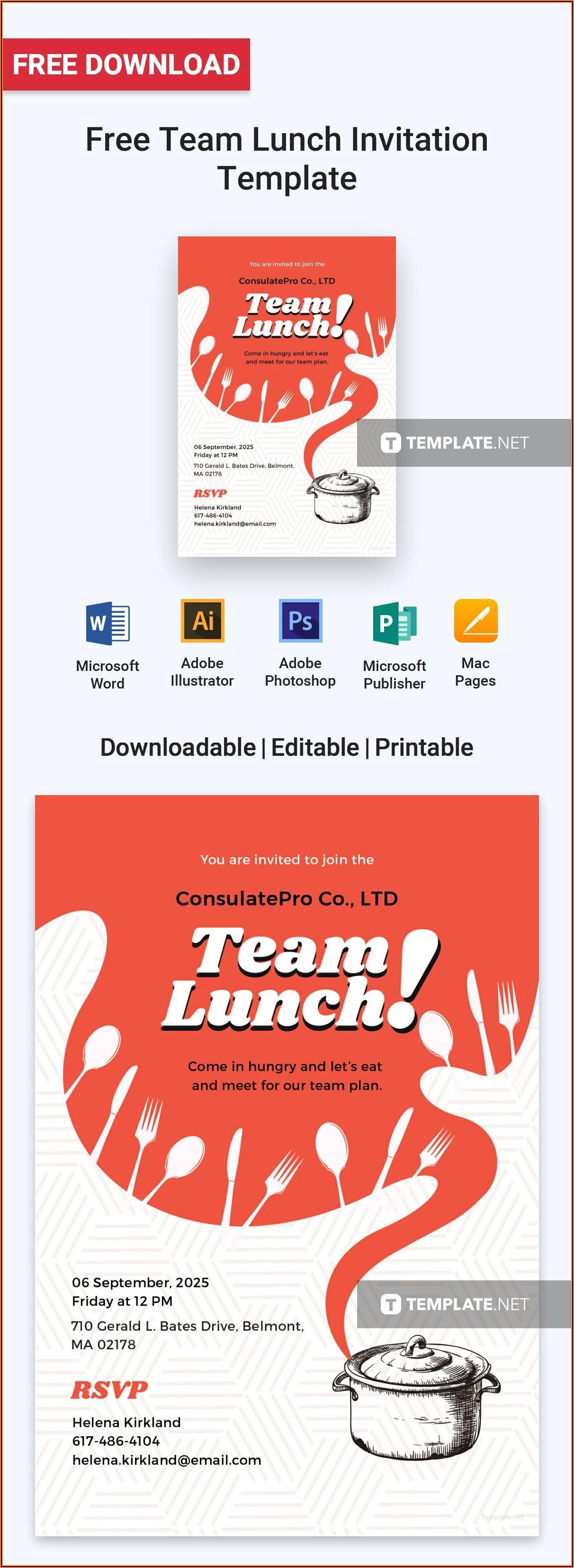 Free Team Lunch Invitation Template Editable