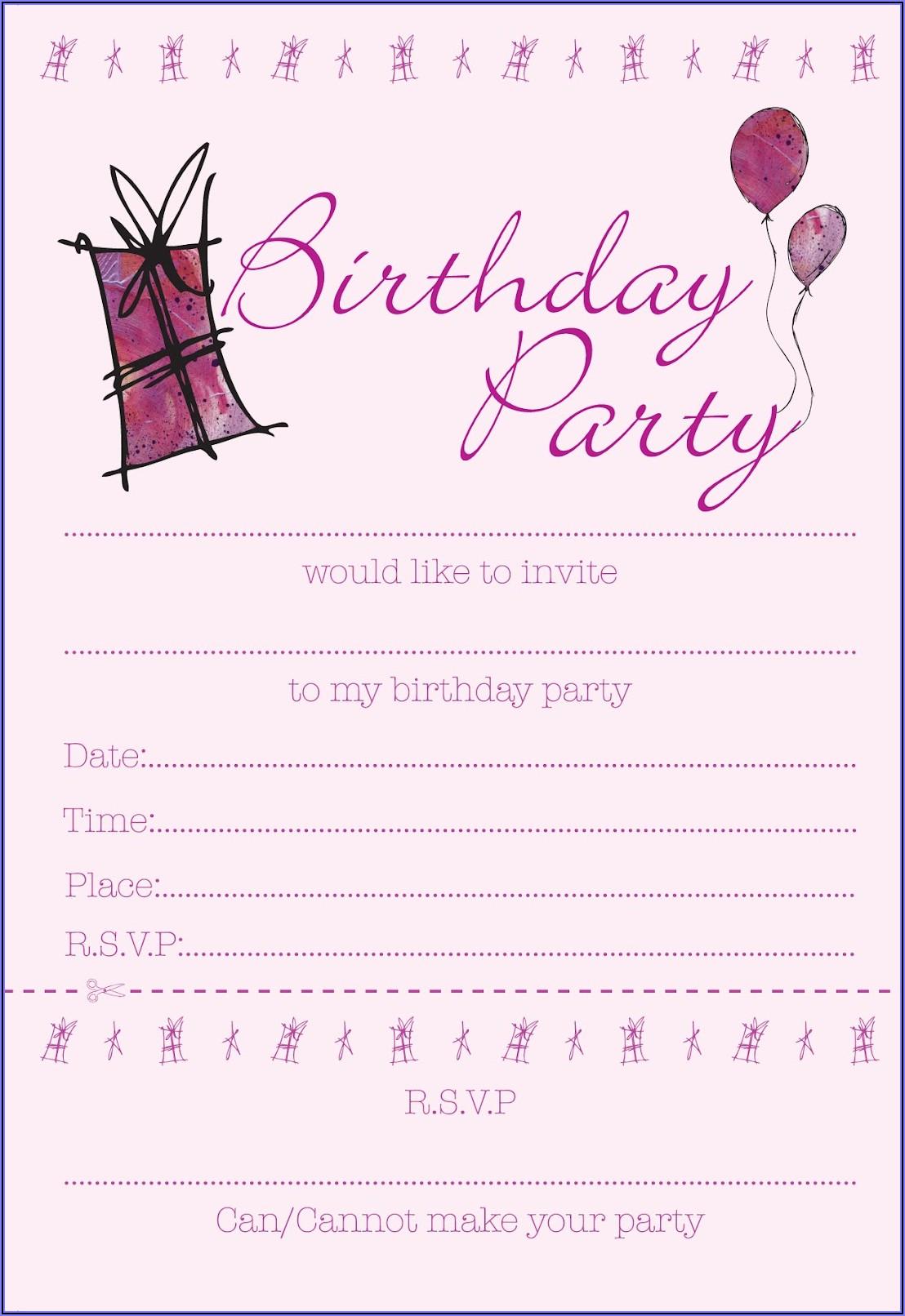 Free Teenage Girl Birthday Invitation Templates