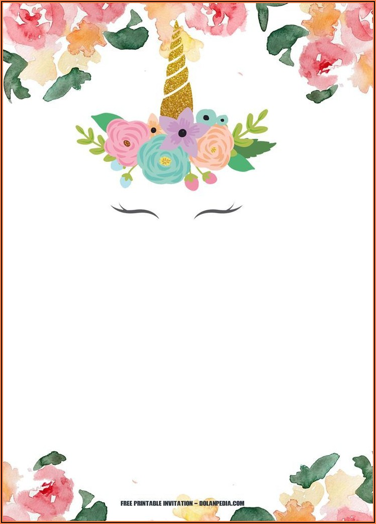 Free Unicorn Birthday Invitations Template