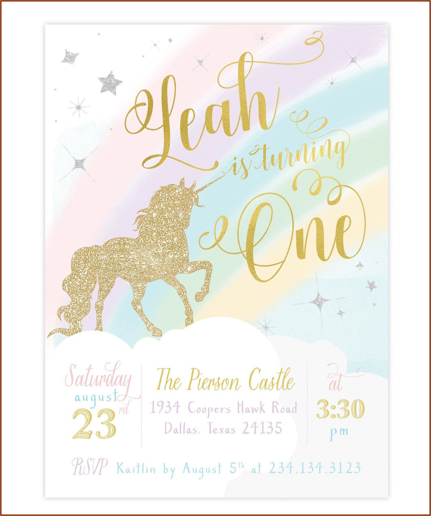 Free Unicorn First Birthday Invitation