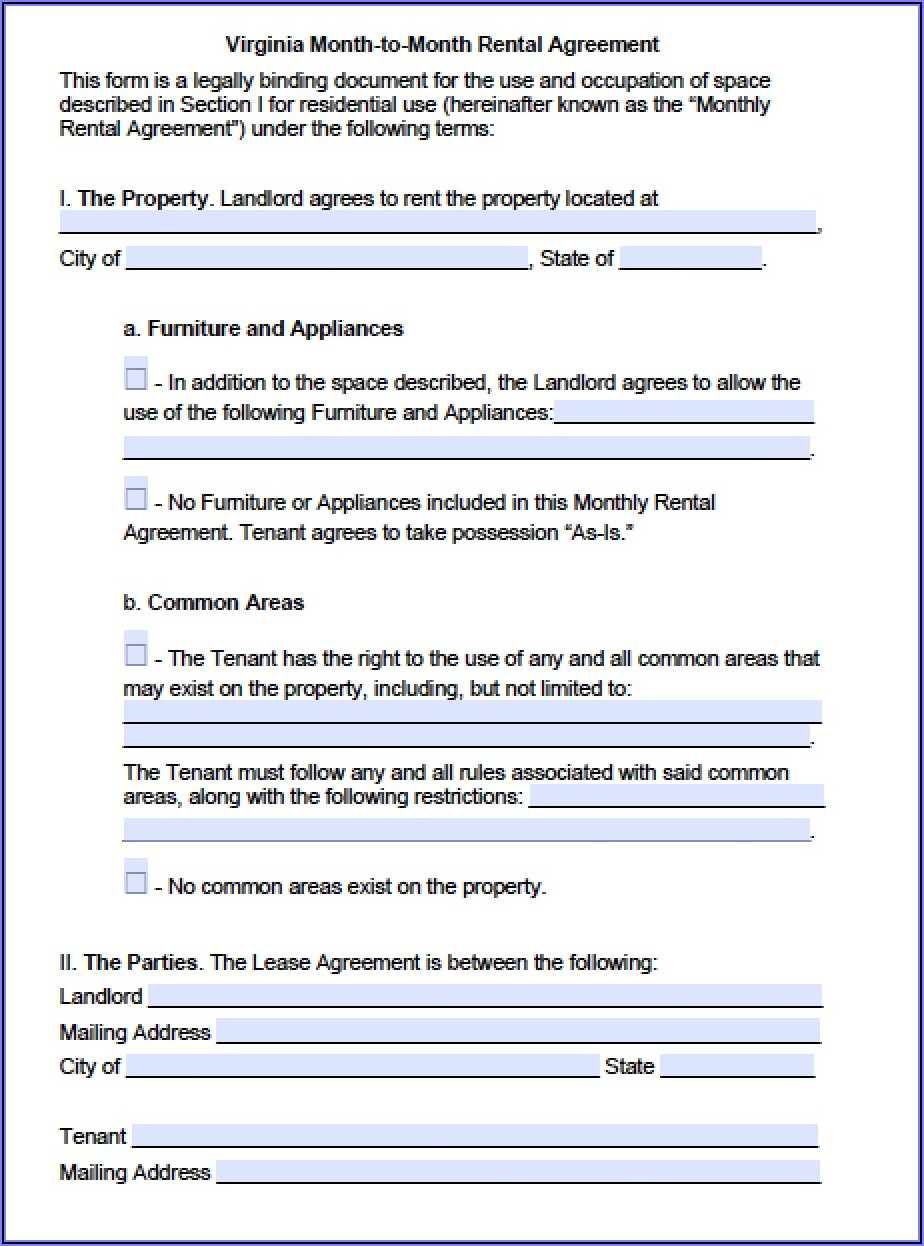 Free Virginia Lease Agreement Template