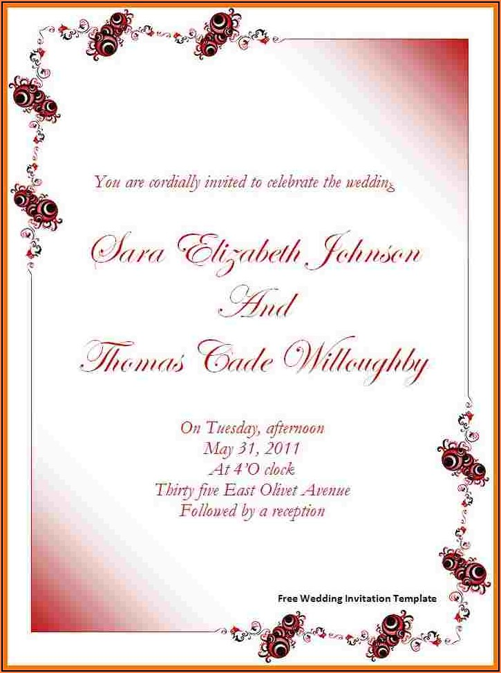 Free Wedding Invitation Templates For Word 2007