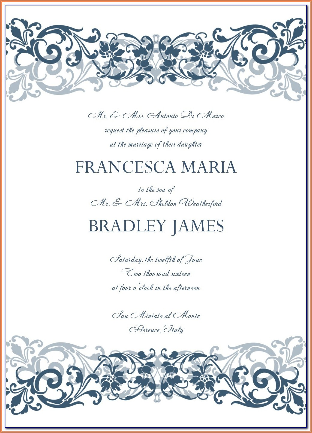 Free Wedding Invitation Templates For Word Download