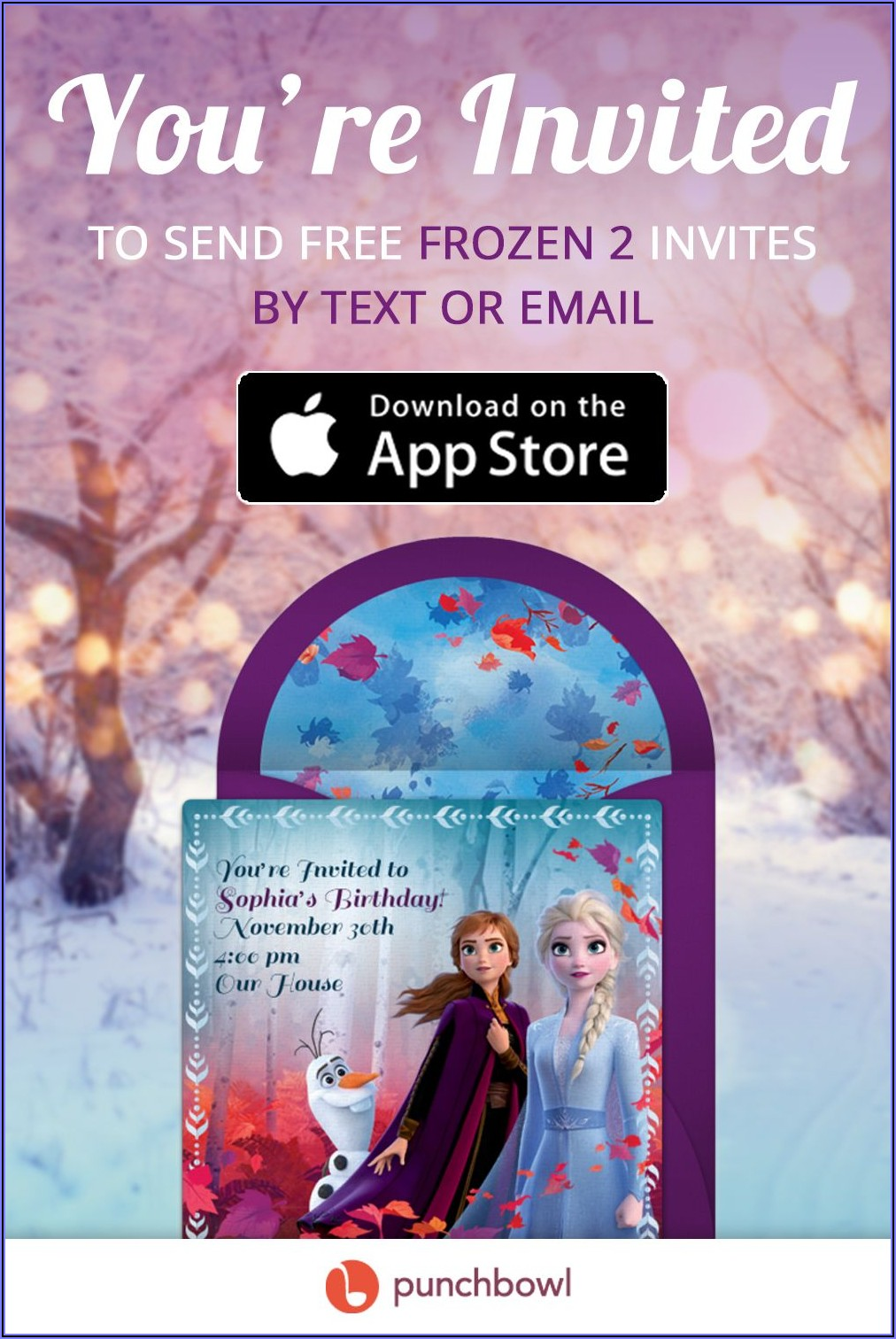 Frozen 2 Birthday Invitations Online