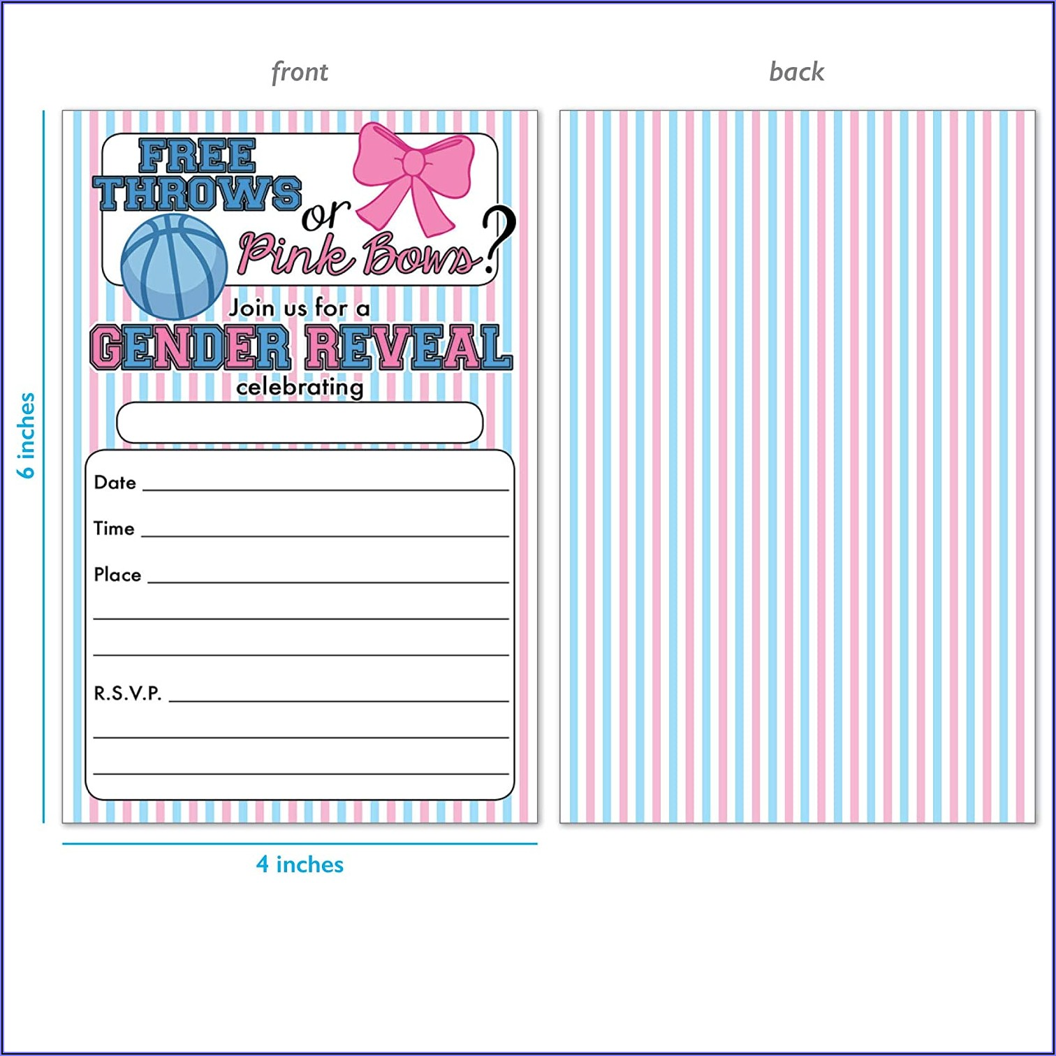 Gender Reveal Invitations Free Throws Or Pink Bows