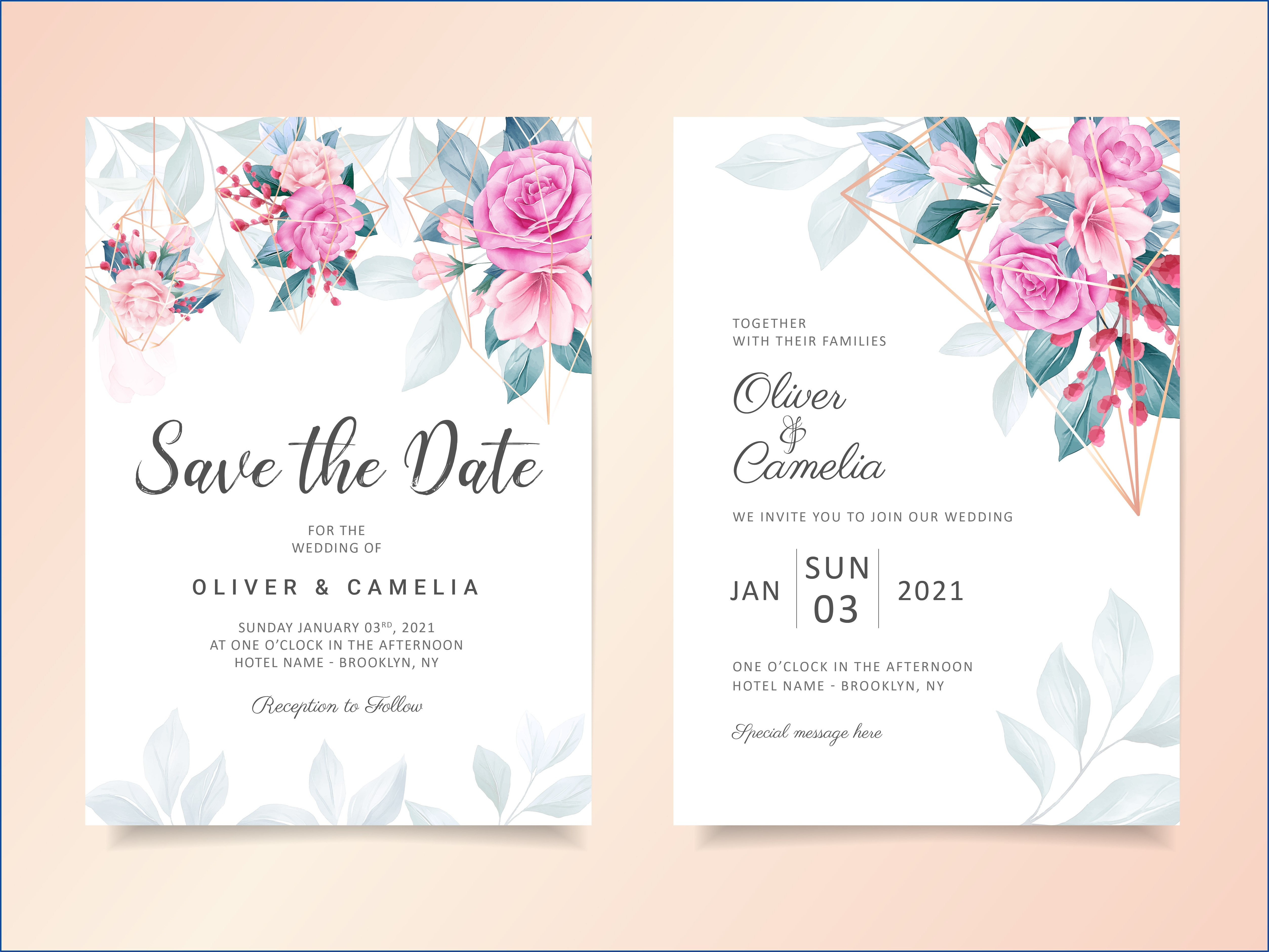 Geometric Floral Wedding Invitation