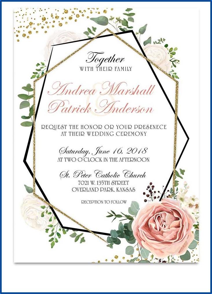 Geometric Floral Wedding Invitations