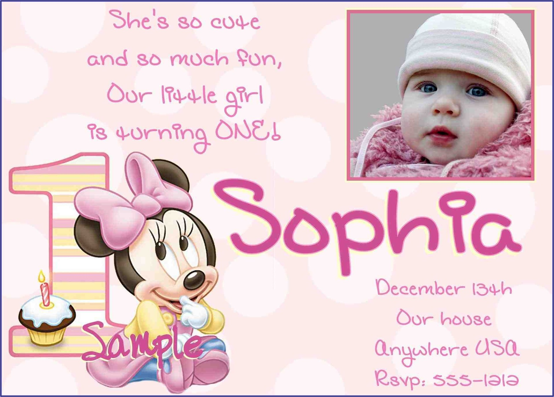 Girl 1st Birthday Invitations Wording