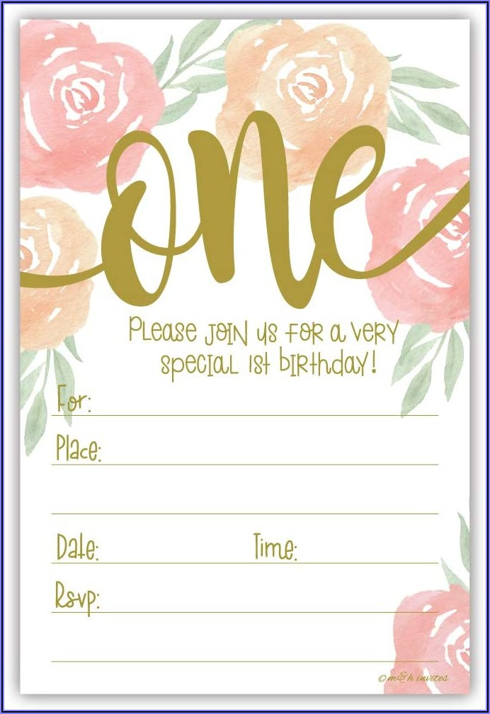 Girl 1st Birthday Invitations