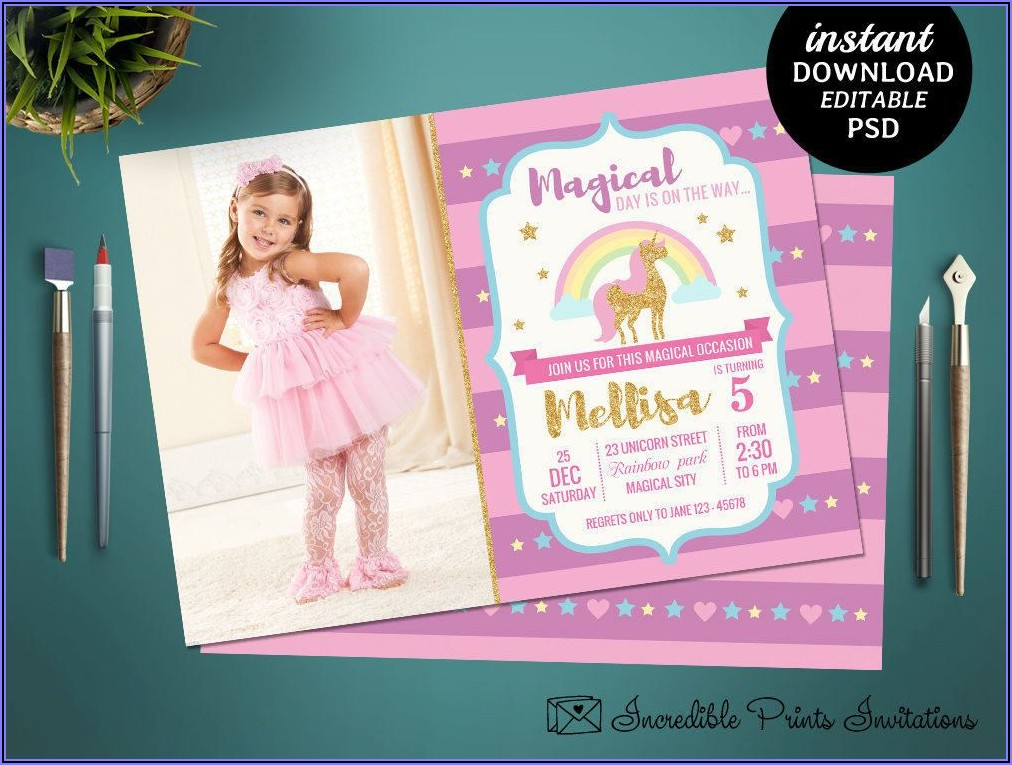 Girl 5th Birthday Invitation Template