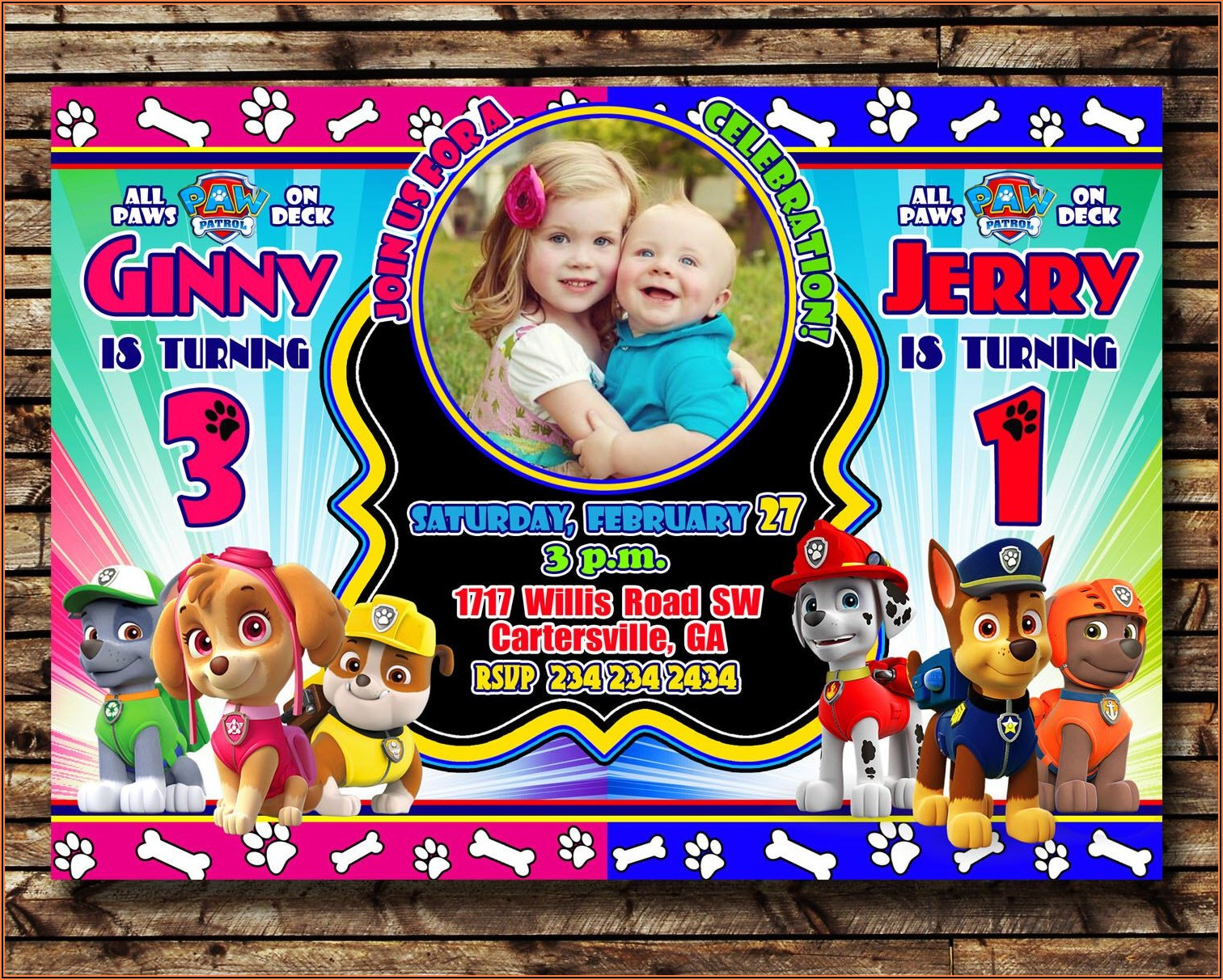 Girl Paw Patrol Birthday Party Invitations