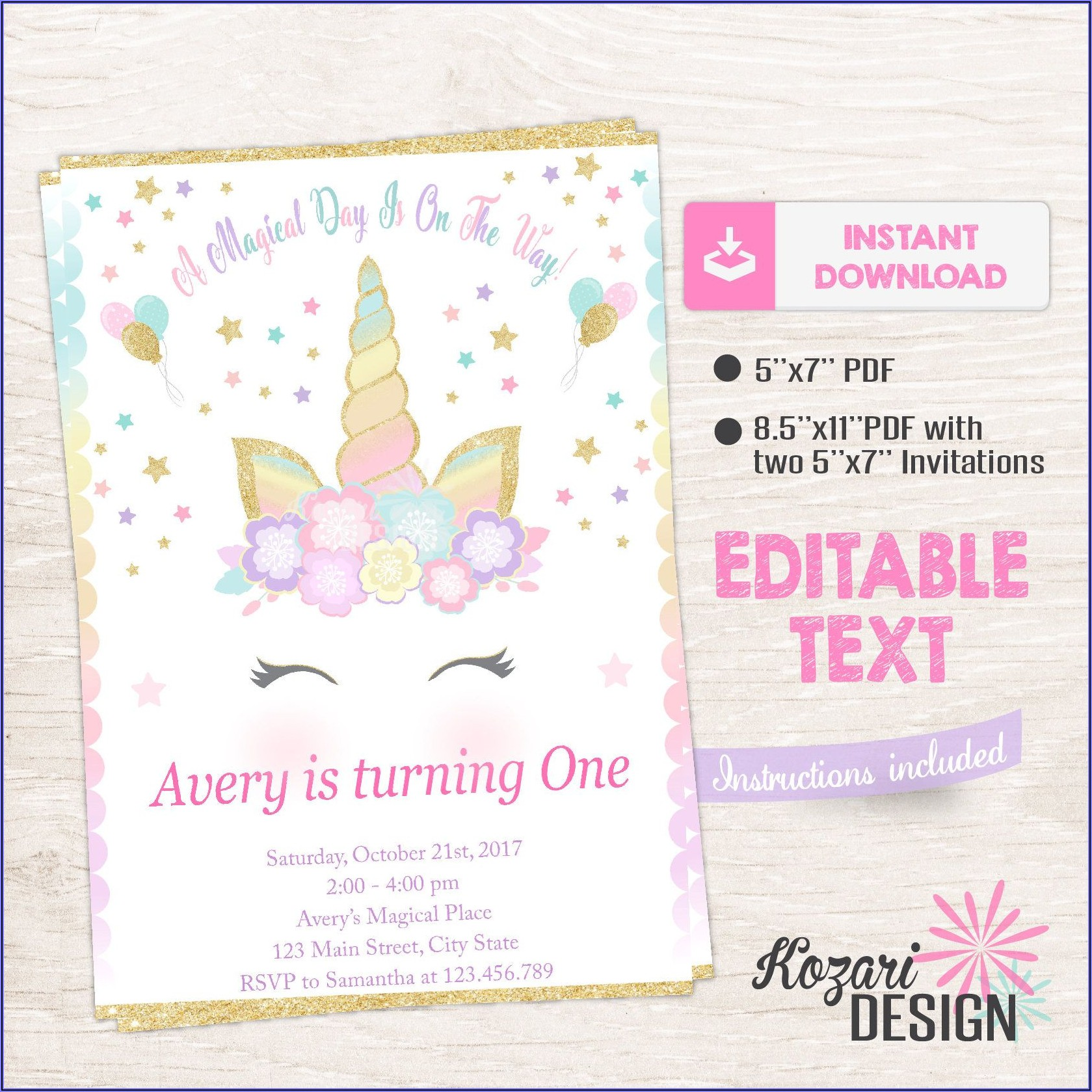 Girl Printable Editable Unicorn Birthday Invitations Templates Free