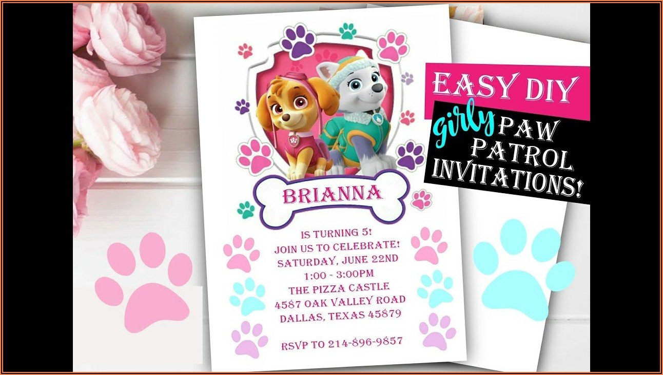 Girly Paw Patrol Birthday Invitations