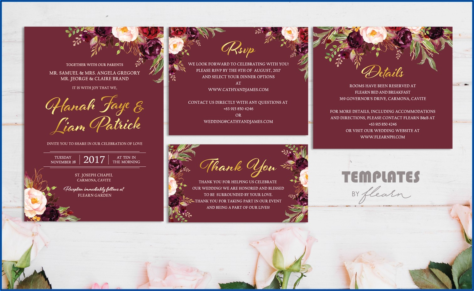 Gold And Maroon Wedding Invitations