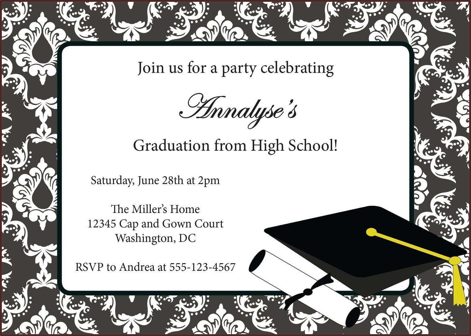Graduation Invitation Card Example