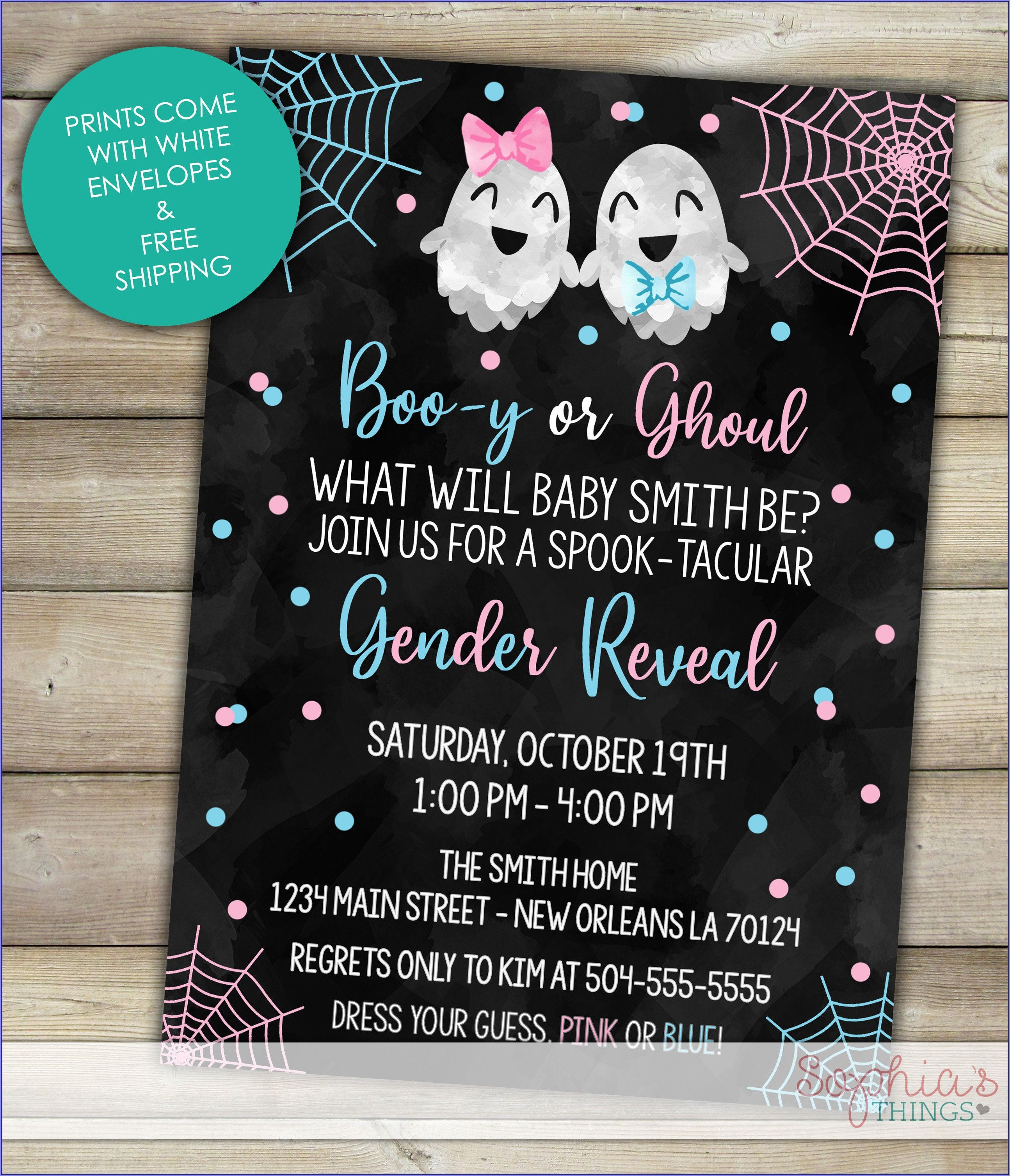 Halloween Gender Reveal Invitations Free