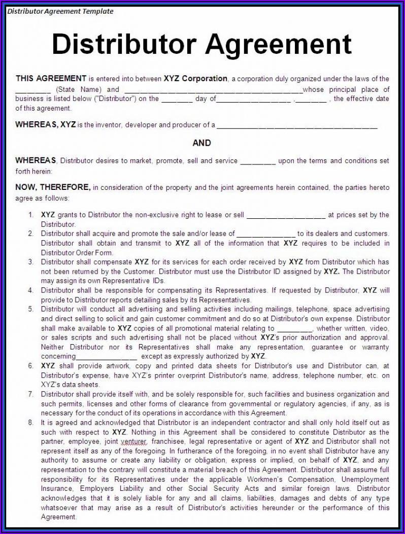 International Distribution Agreement Template Free