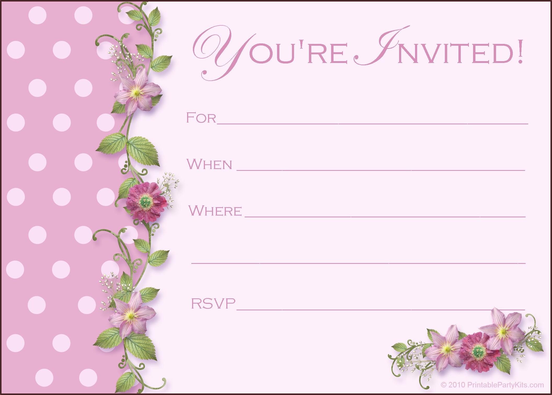 Invitation Card Template Printable