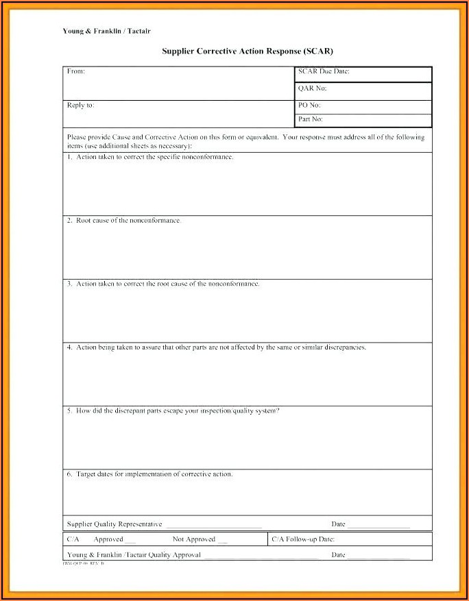 Iso 9001 Corrective And Preventive Action Form