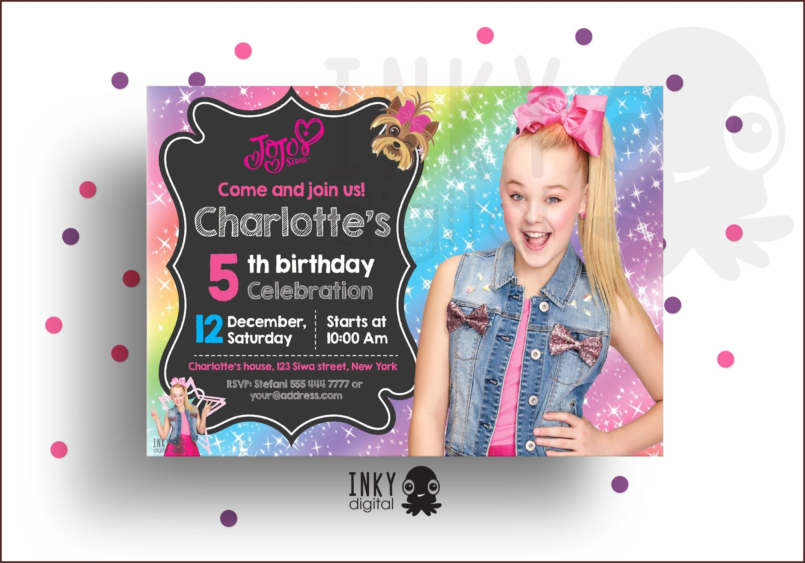 Jojo Siwa Birthday Invitations Printable