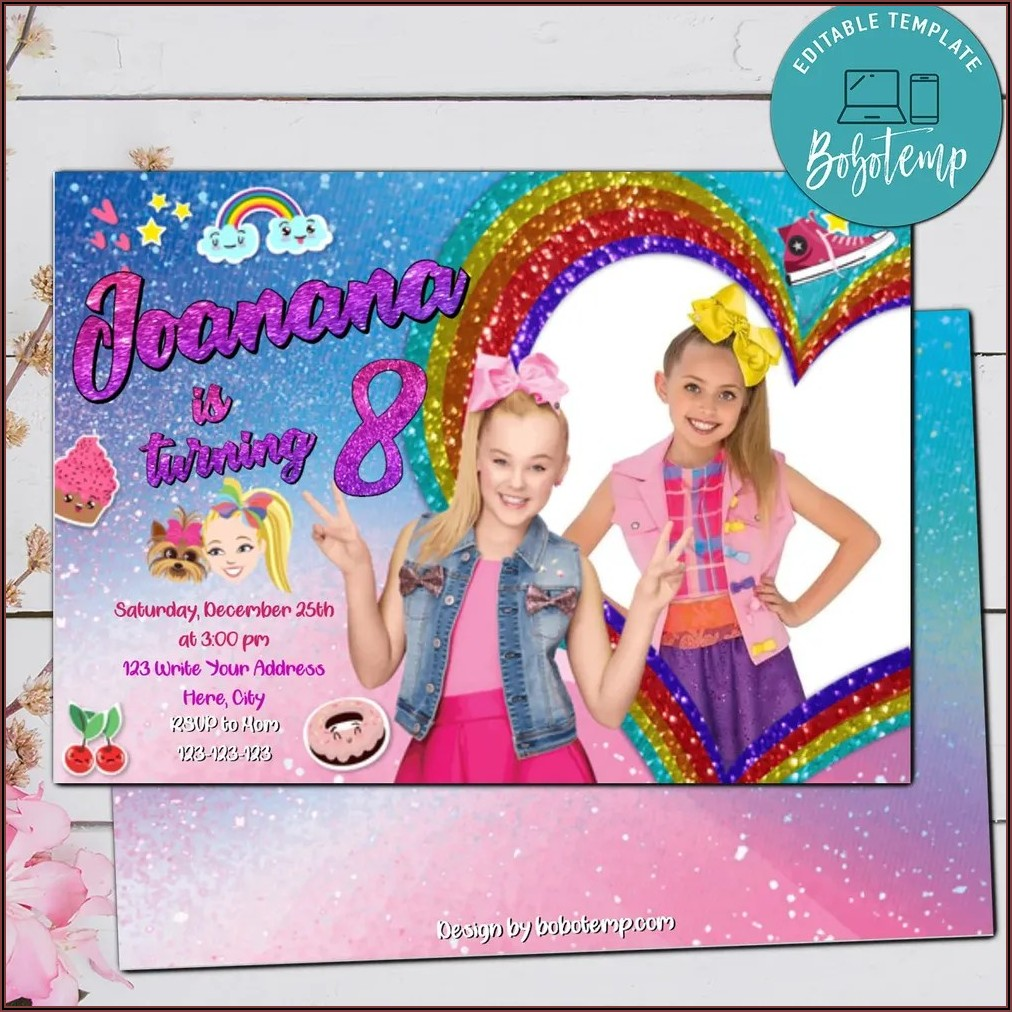 Jojo Siwa Birthday Invitations Templates