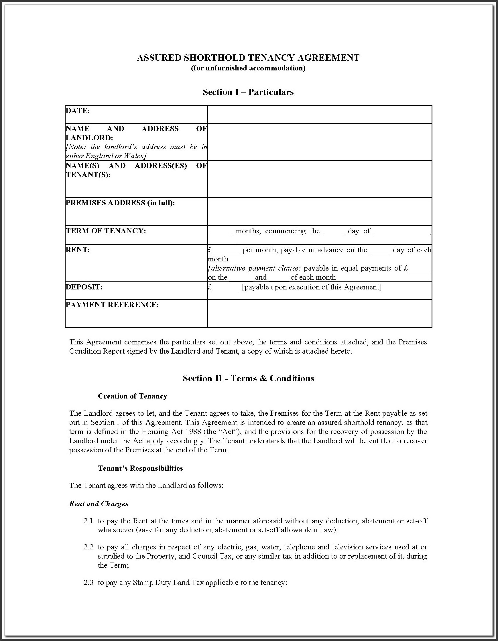 Landlord And Tenancy Agreement Forms