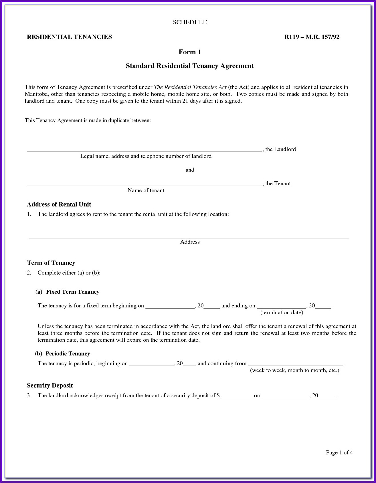 Landlord And Tenant Agreement Forms Alberta