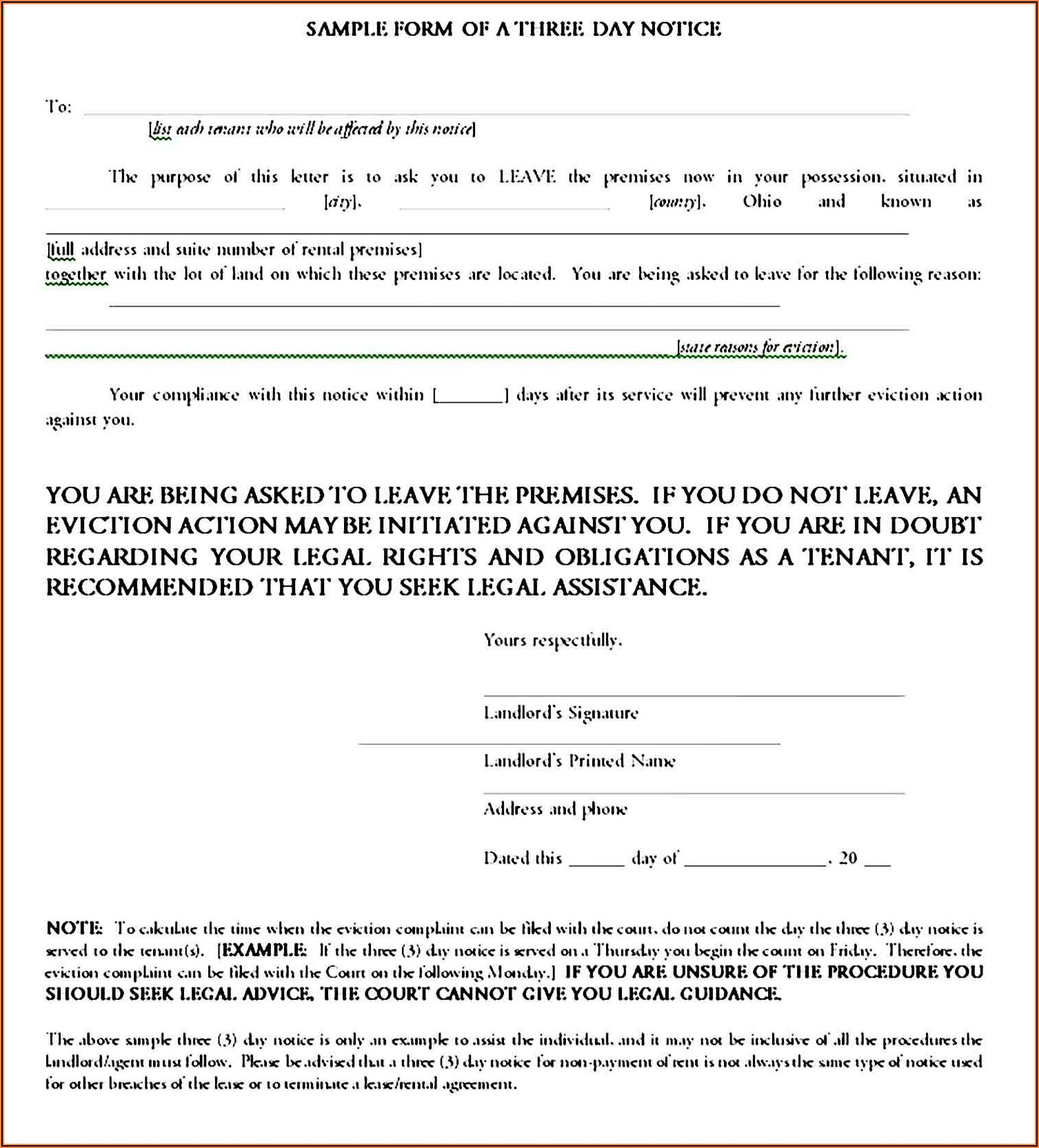 Landlord Eviction Notice Sample